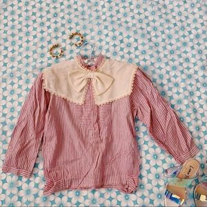 Vtg 80s striped Button Down Blouse SM